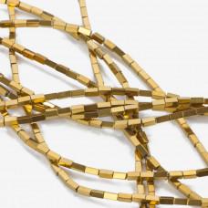 Hematyt czworokąt platerowany złoty 4x2mm
