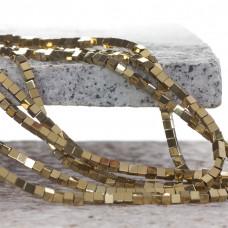 Hematyt kostka platerowana koloru złotego 3x3mm