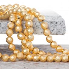Hematyt platerowany kulka fasetowana satynowa light gold 8mm