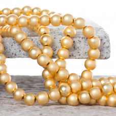 Hematyt platerowany kulka gładka satynowa light gold 8mm
