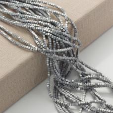 Hematyt platerowany kostka ścięta srebrna matowa 2x2mm