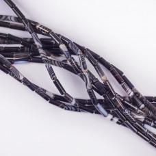 Agat czarny walec gładki 13x4mm