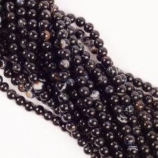 Czarny agat kulka pasiasta gładka 8mm