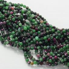 Zoisyt z rubinem kulka fasetowana zielona 4.5mm