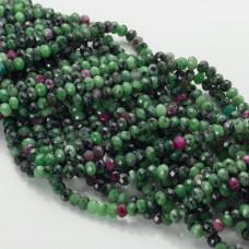 Zoisyt z rubinem oponka fasetowana zielona 4x6mm