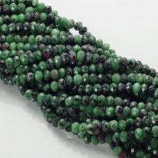 Zoisyt z rubinem oponka fasetowana zielona 6x8mm