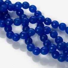 Jadeit kulka fasetowana niebieska 10mm
