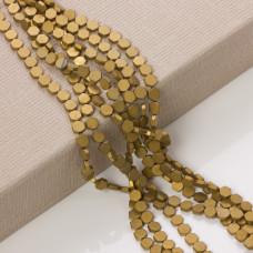 Hematyt platerowany sześciokąt płaski matowy stare złoto 6x6mm