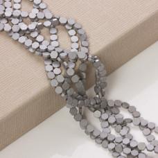 Hematyt platerowany sześciokąt płaski matowy srebrny mat  6x6mm