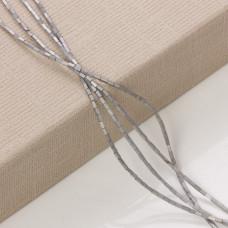 Hematyt platerowany słupek kwadratowy srebrny mat  3x1mm