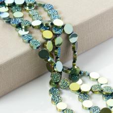 Hematyt platerowany krążek diamentowy emerald 12x4mm