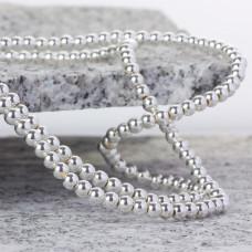Hematyt kulki platerowane gładkie white silver 4mm