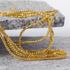 Hematyt kulka fasetowana platerowana light gold 2mm