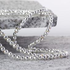 Hematyt kulka fasetowana platerowana white silver 4mm