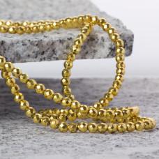 Hematyt kulka fasetowana platerowana light gold 4mm