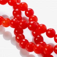 Jadeit kulka fasetowana czerwona 12mm