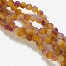 Jadeit kulka gładka fiolet liliowy i bursztyn 8mm