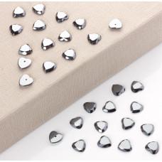 Hematyt kaboszon serce fasetowane z dziurką do sztyftów 12mm