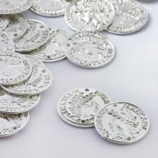 Łącznik metalowy moneta dwie dziurki 20mm