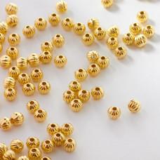 Koraliki metalowe kulki rowkowane 4mm