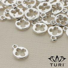 Zawieszka kółko z kwiatkiem w srebrnym kolorze 9.5mm
