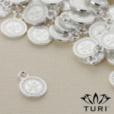 Zawieszka monetka ze wzorkiem w srebrnym kolorze 10.5mm