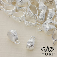 Krawatka ze wzorkiem w srebrnym kolorze 17.5x7mm