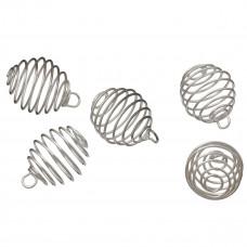 Posrebrzane owale spiralne z oczkiem 20mm