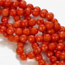 Koral bambusowy kulka fasetowana pomarańczowa 9-10mm