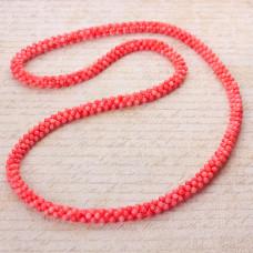Naszyjnik pleciony z kulek korala różowy 80cm