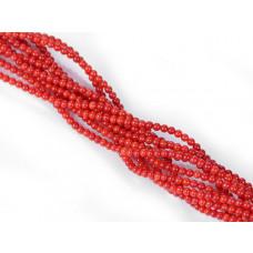 Koral bambusowy kulka czerwona 3mm
