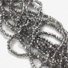 Kryształki kulki fasetowane half silver 3mm