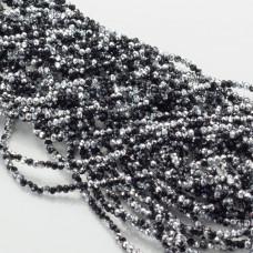 Kryształki oponki fasetowane black and silver 1x2mm