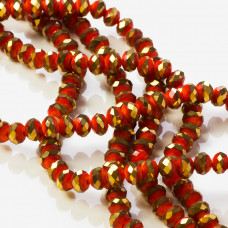 Kryształki oponki fasetowane red porcelain with golden 6x4mm
