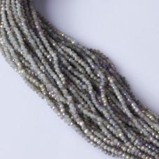 Kryształki oponki fasetowane steel grey AB 2x3mm