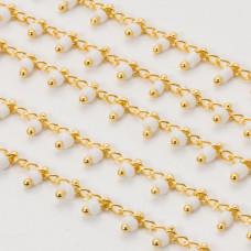 Łańcuch z koralikami white 2.5 x 1.5 mm