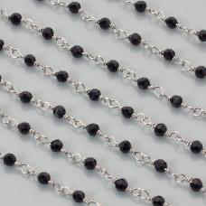 Łańcuch z kryształkami kulkami jet 3mm