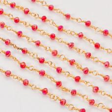 Łańcuch z kryształkami oponkami siam AB 3x4mm