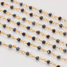 Łańcuch z kryształkami oponkami hematite 3x4mm