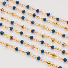 Łańcuch z kryształkami oponkami metallic blue with gold 3x4mm