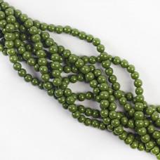 Koraliki szklane powlekane zielone 6mm