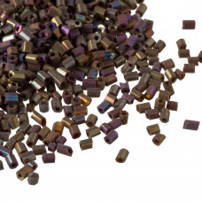 Rurki drobne rainbow shine frosted brown 2x3mm