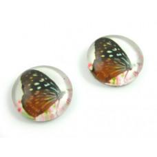 Kaboszon szklany okrągły motylek 12mm