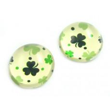 Kaboszon szklany okrągły zielona koniczyna 20mm