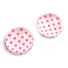 Kaboszon szklany okrągły różowe kropki 20mm