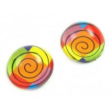 Kaboszon szklany okrągły kolorowa spirala 20mm