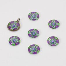 Kaboszon szklany kalejdoskop 14mm zielono-fioletowy