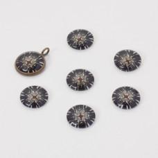 Kaboszon szklany kalejdoskop 14mm czarny