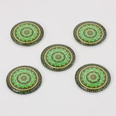 Kaboszon szklany kalejdoskop 30mm zielony