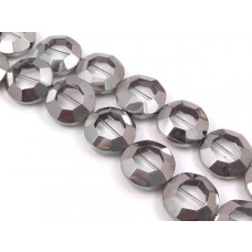Szklany oktagon crystal metalizowany 22mm